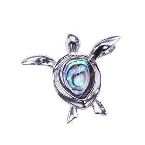 Swimming Turtle Pendant Sterling Silver Made Abalone Inlay(Chain Sold Separately) - Hanalei Jeweler