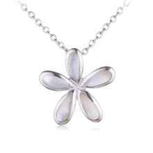 Plumeria Sterling Silver Pendant Mother-of-pearl Inlay(Chain Sold Separately) - Hanalei Jeweler