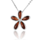 KOA Wood inlaid Sterling Silver Plumeria Pendant - Hanalei Jeweler