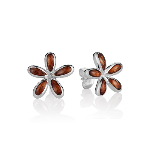 KOA Wood inlaid Sterling Silver Plumeria Earring - Hanalei Jeweler