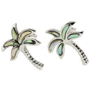 Sterling Silver Abalone Palm Tree Stud Earring - Hanalei Jeweler