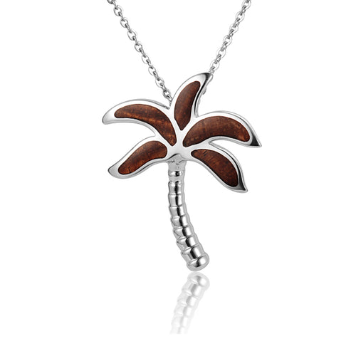 KOA Wood inlaid Sterling Silver Palm Tree Pendant - Hanalei Jeweler