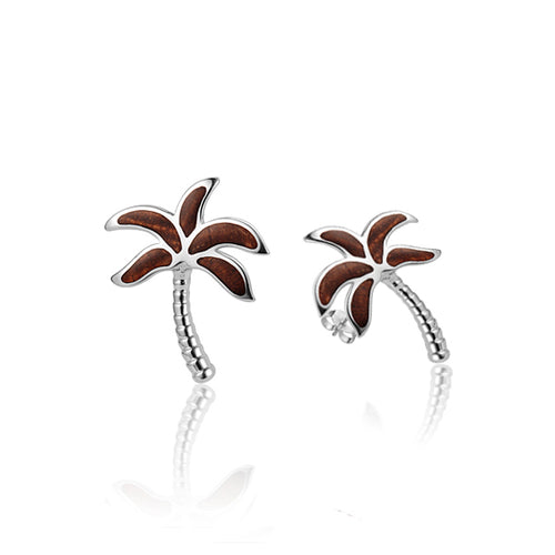 KOA Wood inlaid Sterling Silver Palm Tree Earring - Hanalei Jeweler