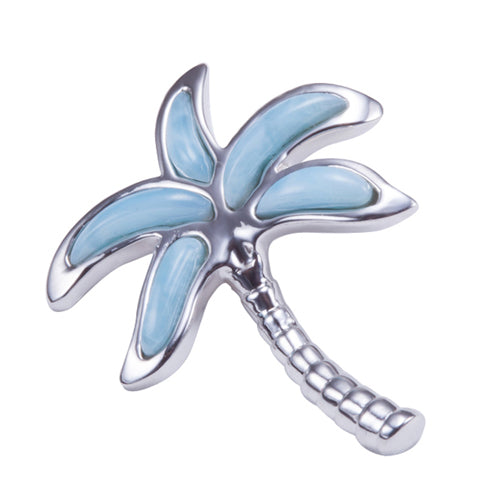 Larimar Sterling Silver Palm Tree Pendant(Chain Sold Separately) - Hanalei Jeweler