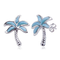 Larimar Sterling Silver Palm Tree Earring