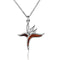 KOA Wood inlaid Sterling Silver Bird of Paradise Pendant - Hanalei Jeweler