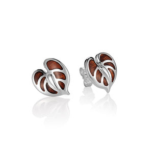 Koa Wood Inlaid Sterling Silver Anthurium Earring Post Style - Hanalei Jeweler