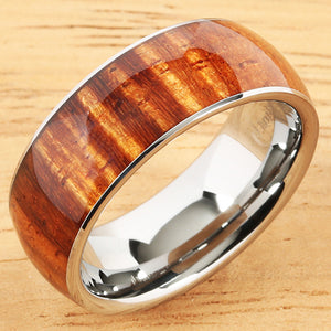 Supper Curly Hawaiian Koa Wood Ring Tungsten Carbide Koa Wood Wedding Band