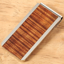 Supper Curly Hawaiian Koa Wood Inlaid Stainless Steel Made Money Clip - Hanalei Jeweler