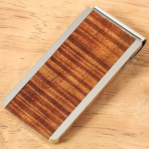 Supper Curly Hawaiian Koa Wood Inlaid Stainless Steel Made Money Clip