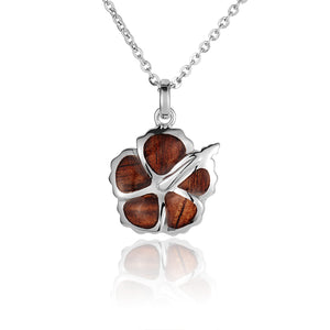 KOA Wood inlaid Sterling Silver Hibiscu Pendant - Hanalei Jeweler