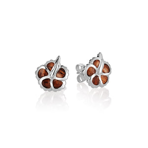 KOA Wood inlaid Sterling Silver Hibiscu Earring - Hanalei Jeweler