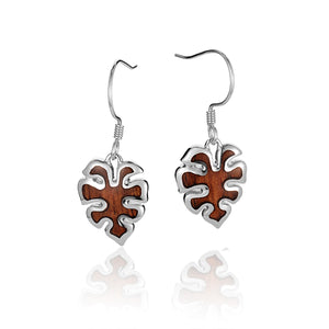 KOA Wood inlaid Sterling Silver Monstera Earring - Hanalei Jeweler