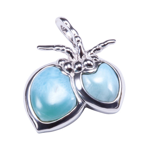 Sterling Silver Larimar Coconut Pendant(Chain Sold Separately) - Hanalei Jeweler