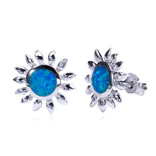 Sunflower Sterling Silver Opal Inlay Earring Post Style - Hanalei Jeweler