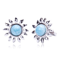 Sterling Silver Larimar Sunflower Earring