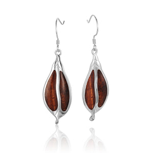 Koa Wood Sterling Silver Maile Leaf Hook Earring - Hanalei Jeweler