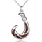 Solid Silver Koa Wood Inlaid Fish Hook Pendant Large Size - Hanalei Jeweler