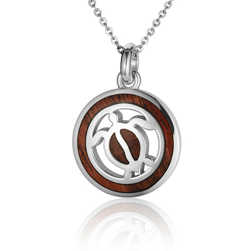 Hawaiian Jewelry Koa Wood inlaid Solid silver Honu Pendant - Hanalei Jeweler
