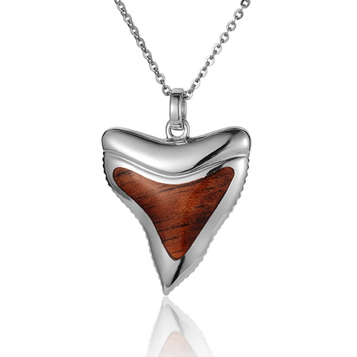KOA Wood inlaid Sterling Silver Shark Teeth Shape Pendant - Hanalei Jeweler