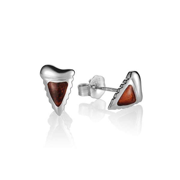 KOA Wood inlaid Sterling Silver Shark Teeth Shape Earring - Hanalei Jeweler