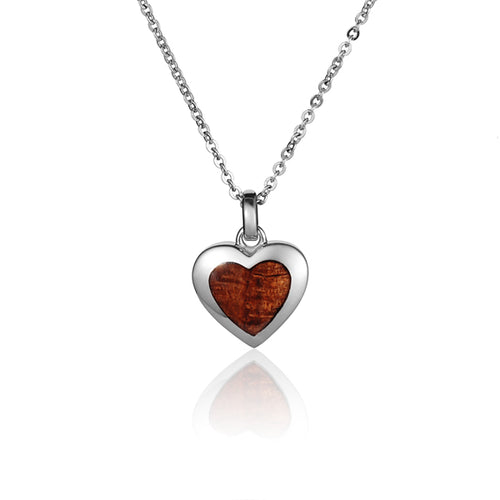 Hawaiian Jewelry Koa Wood inlaid Solid Silver Heart Pendant - Hanalei Jeweler