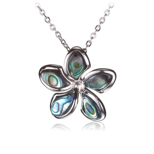 Sterling Silver Plumeria Abalone Inlay Pendant(Chain Sold Separately) - Hanalei Jeweler