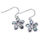 Sterling Silver Plumeria Abalone Inlay Hook Earring - Hanalei Jeweler