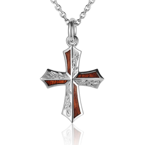Hand-made Scrolling Hawaiian Koa Wood Inlaid Sterling Silver Cross Pendant Heavy Weight - Hanalei Jeweler