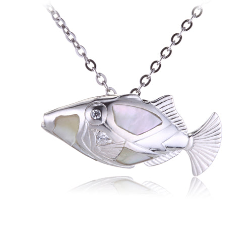 Humuhumunukunuku apua Fish Pendant with Mother-of-pearl Inlay(Chain sold separately) - Hanalei Jeweler