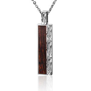 Hawaiian Hand-made Scroll Engraving Koa Wood Inlaid Vertical Pendant - Hanalei Jeweler