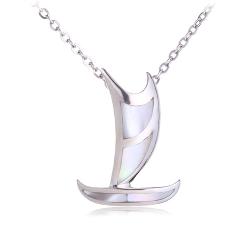 Polynesian Voyaging Canoe Sterling Silver Pendant with Mother-of-pearl Inlay Small(Chain Sold Separately) - Hanalei Jeweler
