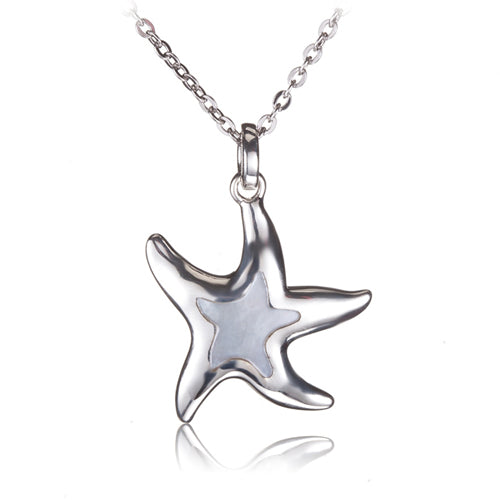Sterling Silver Mother-of-pearl Inlay Starfish Pendant(Chain Sold Separately) - Hanalei Jeweler
