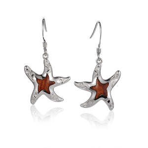 Hawaiian Jewelry Koa Wood inlaid Solid Silver hand engraving Starfish hook Earrings - Hanalei Jeweler