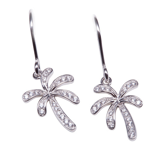 Palm Tree Sterling Silver Hook Earring Pave Cubic Zirconia - Hanalei Jeweler