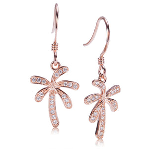 Palm Tree Sterling Silver Hook Earring Pink Gold Plated Pave Cubic Zirconia - Hanalei Jeweler