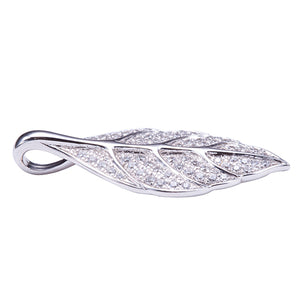 Sterling Silver Pave Cubic Zirconia Maile Leaf Pendant(Chain Sold Separately) - Hanalei Jeweler