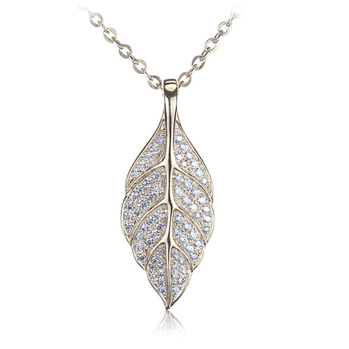 Sterling Silver Yellow Gold Plated Pave Cubic Zirconia Maile Leaf Pendant(Chain Sold Separately) - Hanalei Jeweler