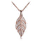 Sterling Silver Pink Gold Plated Pave Cubic Zirconia Maile Leaf Pendant(Chain Sold Separately) - Hanalei Jeweler
