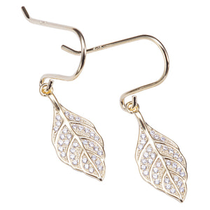 Sterling Silver Yellow Gold Plated Pave Cubic Zirconia Maile Leaf Hook Earring - Hanalei Jeweler