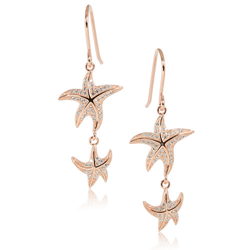Pink Gold Plated Sterling Silver Double Starfish Pave CZ Hook Earring - Hanalei Jeweler