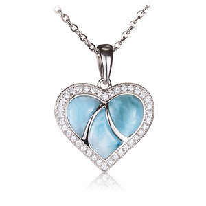 Larimar CZ Inlaid Sterling Silver Heart Pendant(Chain Sold Separately) - Hanalei Jeweler