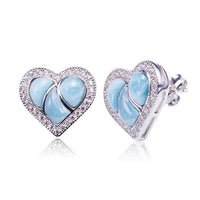 Larimar CZ Inlaid Sterling Silver Heart Post Earring
