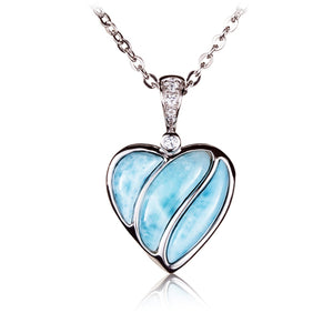 Larimar Heart Sterling Silver Pendant(Chain Sold Separately) - Hanalei Jeweler