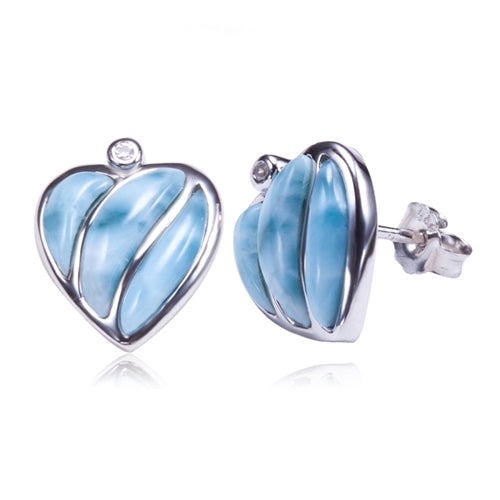 Larimar Heart Sterling Silver Post Earring - Hanalei Jeweler