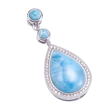 Sterling Silver Larimar Water Drop Pendant with Cubic Zirconia Inlay(Chain Sold Separately) - Hanalei Jeweler