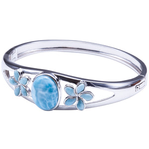 Sterling Silver Larimar Bangle Bracelet with Two Plumerias and one Oval - Hanalei Jeweler