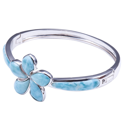 Sterling Silver Larimar Bangle 26mm Plumeria in the Center - Hanalei Jeweler