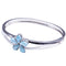 Sterling Silver Larimar Bangle 20mm Plumeria in the Center - Hanalei Jeweler