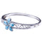 Sterling Silver Larimar Bangle 22mm Plumeria in the Center - Hanalei Jeweler